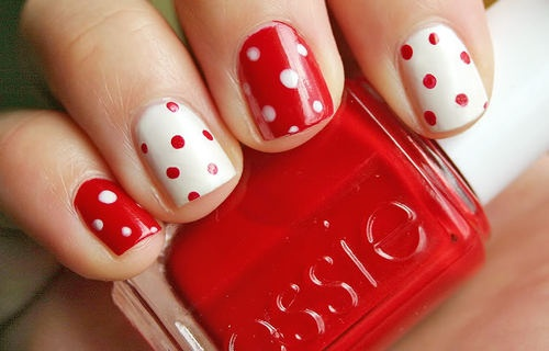 easy nail design red and white spots