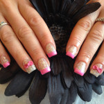 Pink and Glitter Bows 3D Nail Art Designs