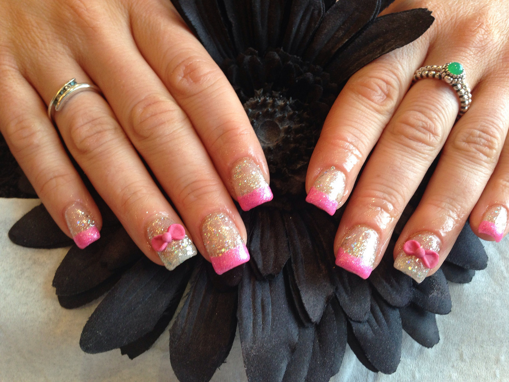 Acrylic nails with gelish glitter ,pink glitter tips 3D acrylic pink ...