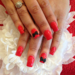 Black and Red Bows 3D Nail Art Designs