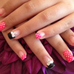 Bows and Pink Dots 3D Nail Art