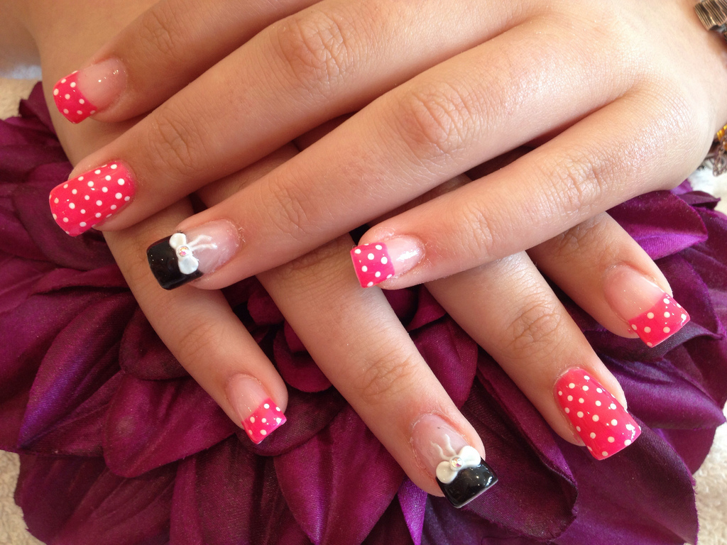 Acrylic nails with pocker dot as nail art and 3d bows on ring acrylic nails with pocker dot as nail art and 3d bows on ring finger prinsesfo Image collections