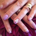 Bows and Purple Dots Nail Art