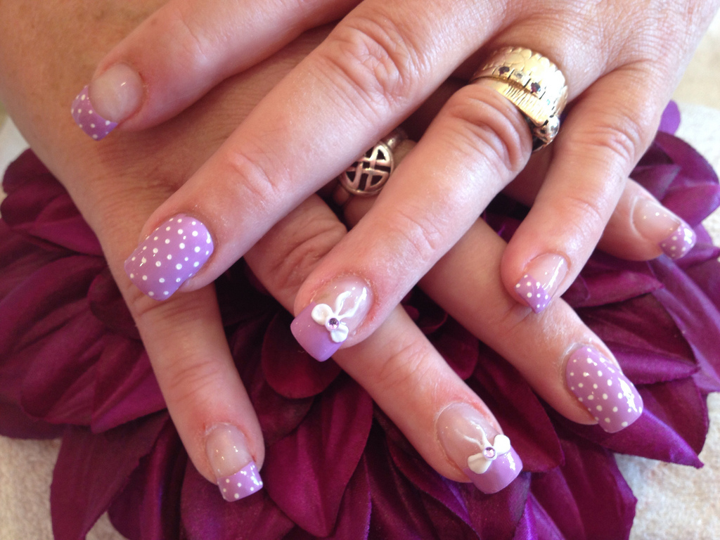 Acrylic nails with pocket dot nail art and 3d bows nail designs acrylic nails with pocket dot nail art and 3d bows prinsesfo Image collections