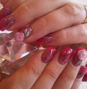 Glitter Roses 3D Nail Designs