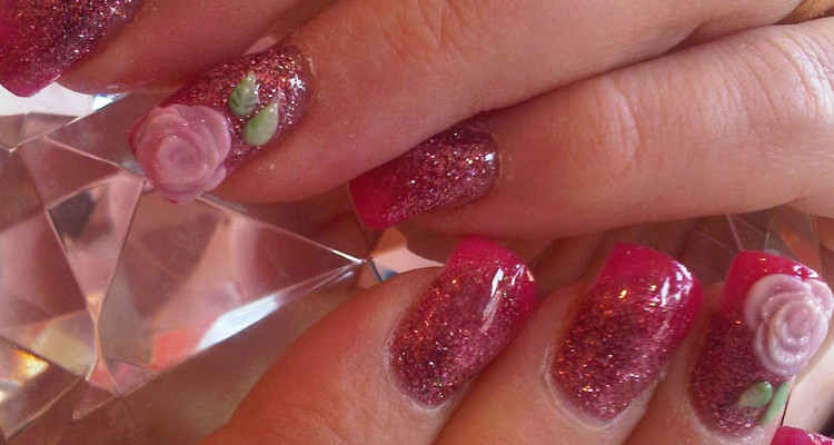 Bubblegum Faded Into Mel Rose Acrylic With 3d Rose Nail Art Nail