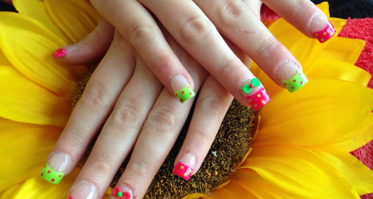 Full set of acrylic nails with bright pink and green polish with 3D ...
