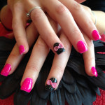 Black and Pink 3D Nail Art Designs