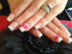 Red and White Bows 3D Nail Art