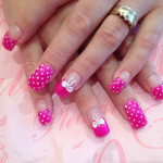 Pink Dots and Bows 3D Nail Art Design