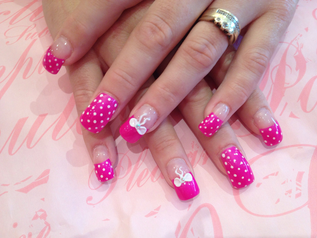 Full set of acrylic with poker dot nail art and 3d bows - Nail ...
