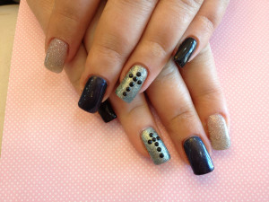 Grey and Black Gel Nails
