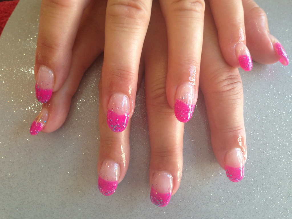 Gel nails with pink and glitter gelish gel polish - Nail Designs For You