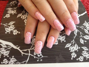 Glitter Dust and Pink Gel Nails