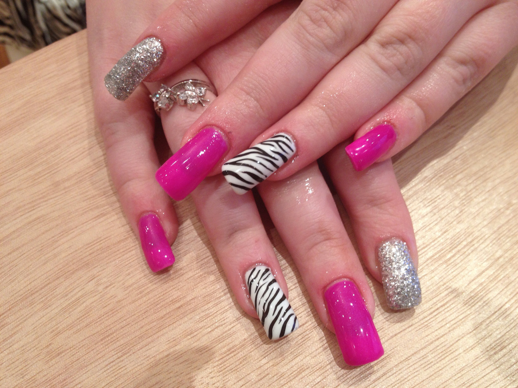 Pink and Zebra Gel Nails