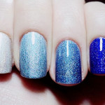 Shades of Blue Glitter Nails
