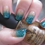 Gold and Green Glitter Nails