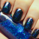 Blue and Black Glitter Nails