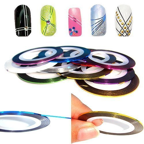 Nail striping tape products tips and tutorials nail designs nail art striping tape line decoration pack of 10 rolls prinsesfo Choice Image