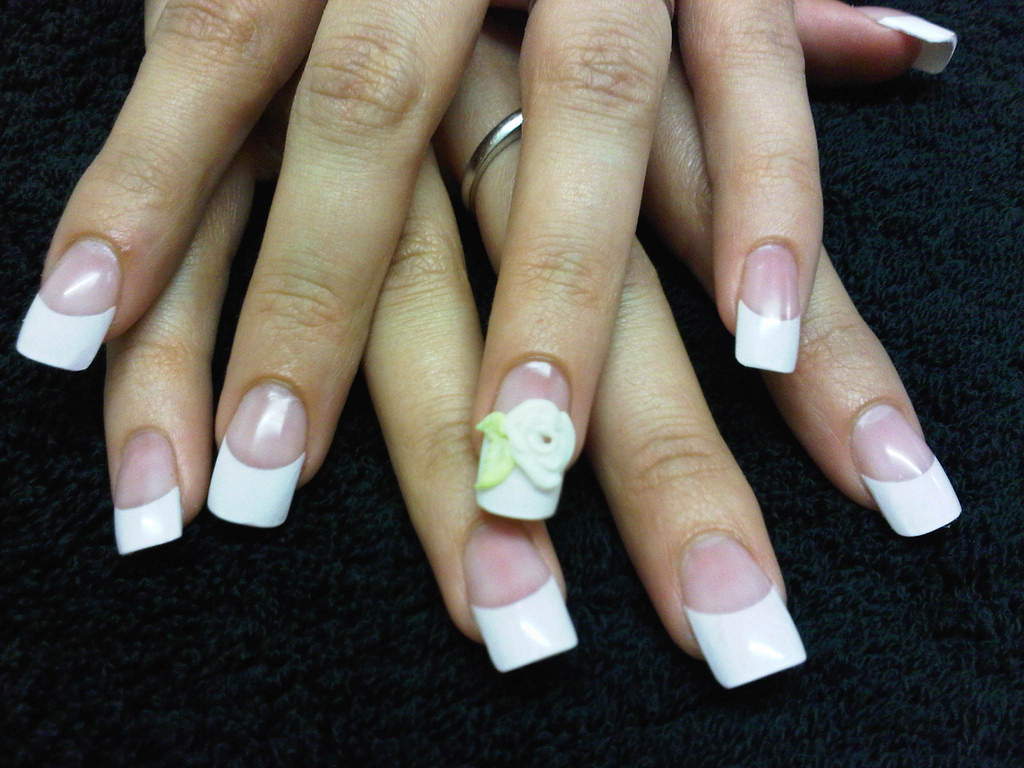Nails by Laurie Paling, French Tips with Acrylic Overlay and 3D Rose ...