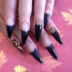 Black and Leopard Print Stiletto Nails