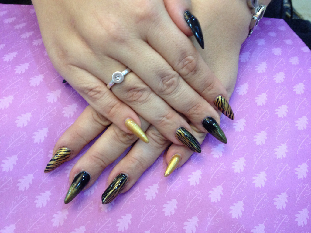 Stiletto Nails With Black And Gold Nail Art Nail Designs For You