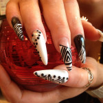 Black and White Stiletto Nails