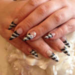 One Stroke Black and White Stiletto Nails