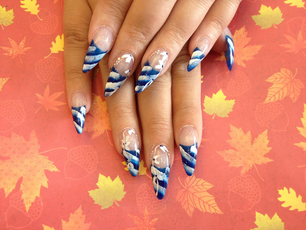 Stiletto nails with blue and white nail art nail designs for you stiletto nails with blue and white nail art prinsesfo Choice Image