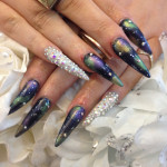 Stiletto Nails With Galaxy Nail Art and Swarvoski Fingers