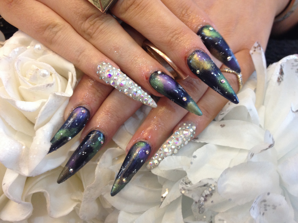 Stiletto Nails With Galaxy Nail Art and Swarvoski Fingers - Nail ...