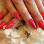 Stiletto Nails With Red Gel Polish