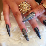 Black Stiletto Nails With Gun Metal Crystals