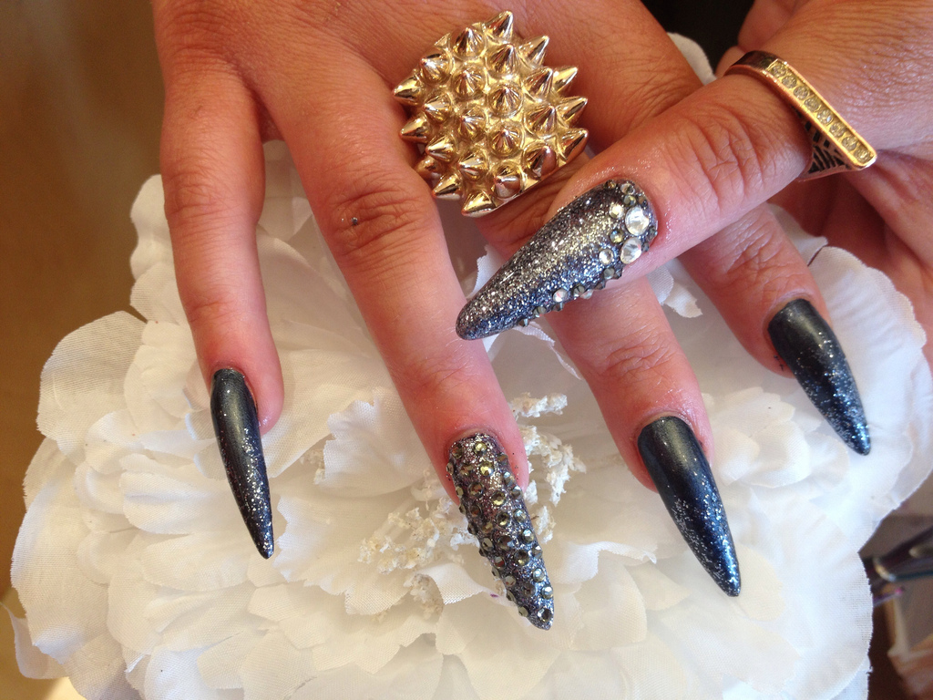 Stiletto Nails With Gun Metal Glitter And Swarovski Crystals - Nail ...