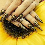 Black Stiletto Nails With Leopard Print Design