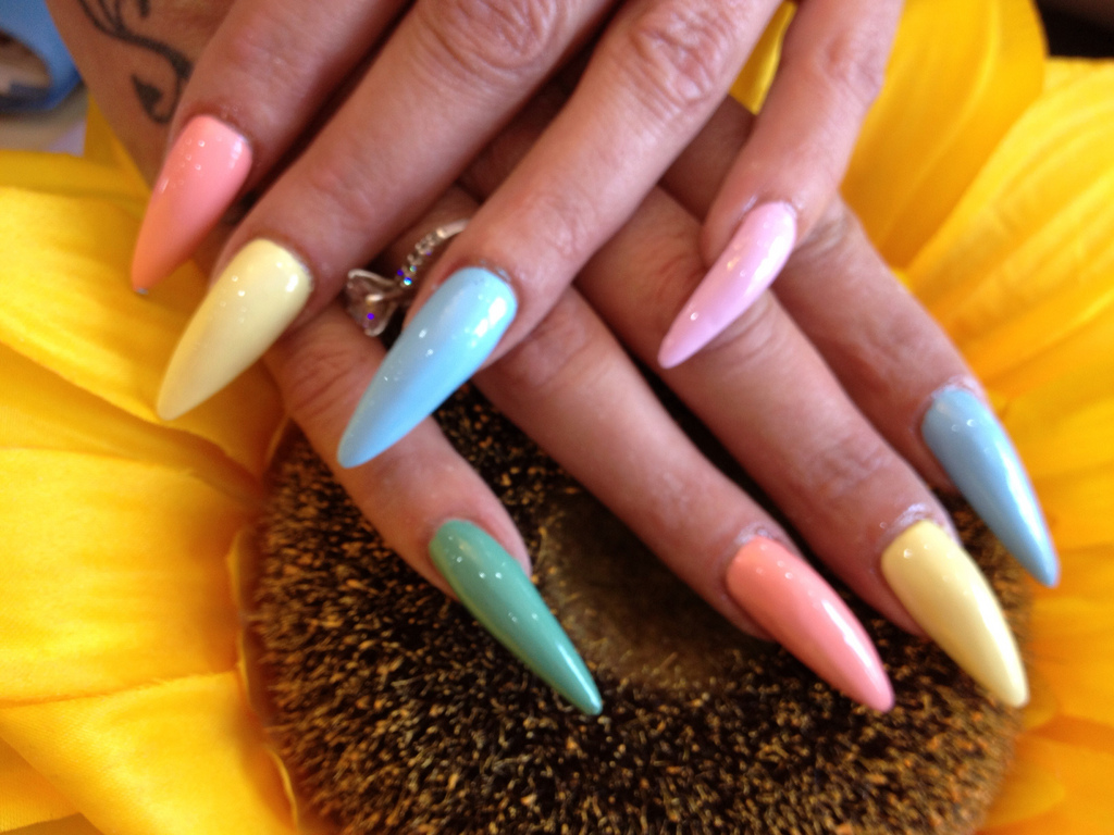 Stiletto Nails With Pastel Polish - Nail Designs For You