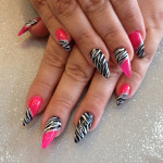 Stiletto Nails With Pink And Zebra Print Nail Art