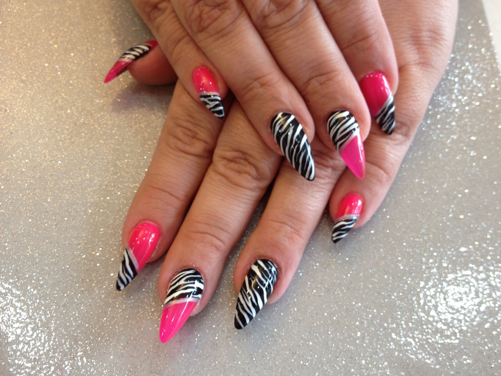 Stiletto nails with pink and zebra print nail art nail designs stiletto nails with pink and zebra print nail art prinsesfo Images