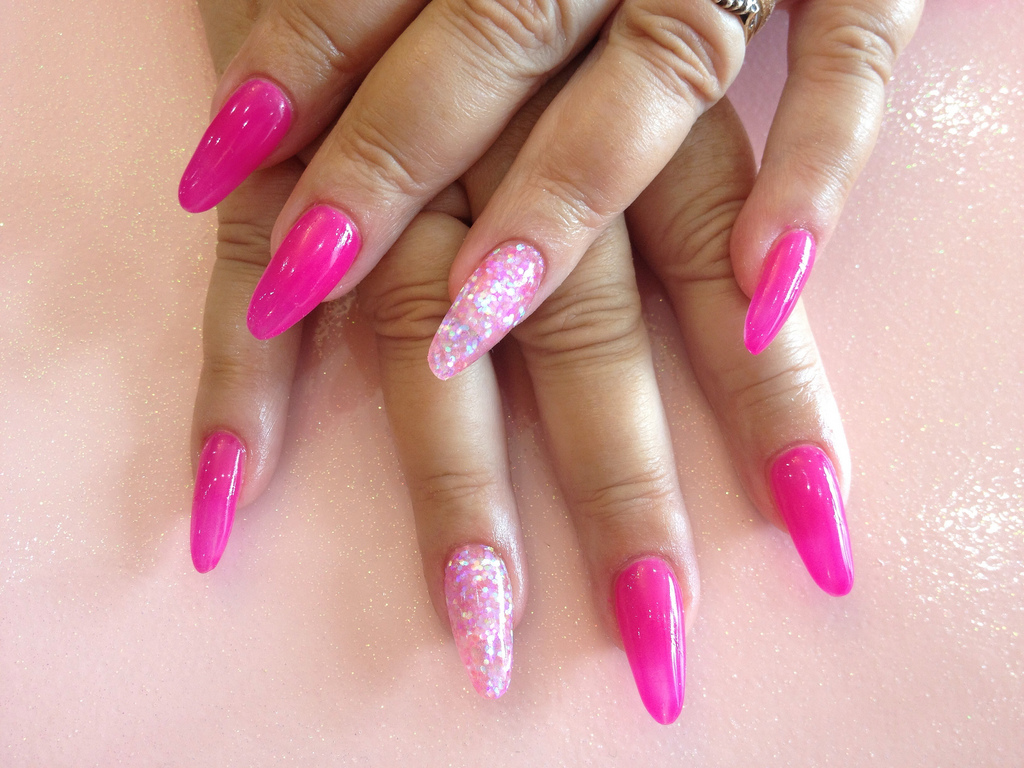 Stiletto Nails With Pink Nail Polish and Pink Glitter - Nail Designs ...