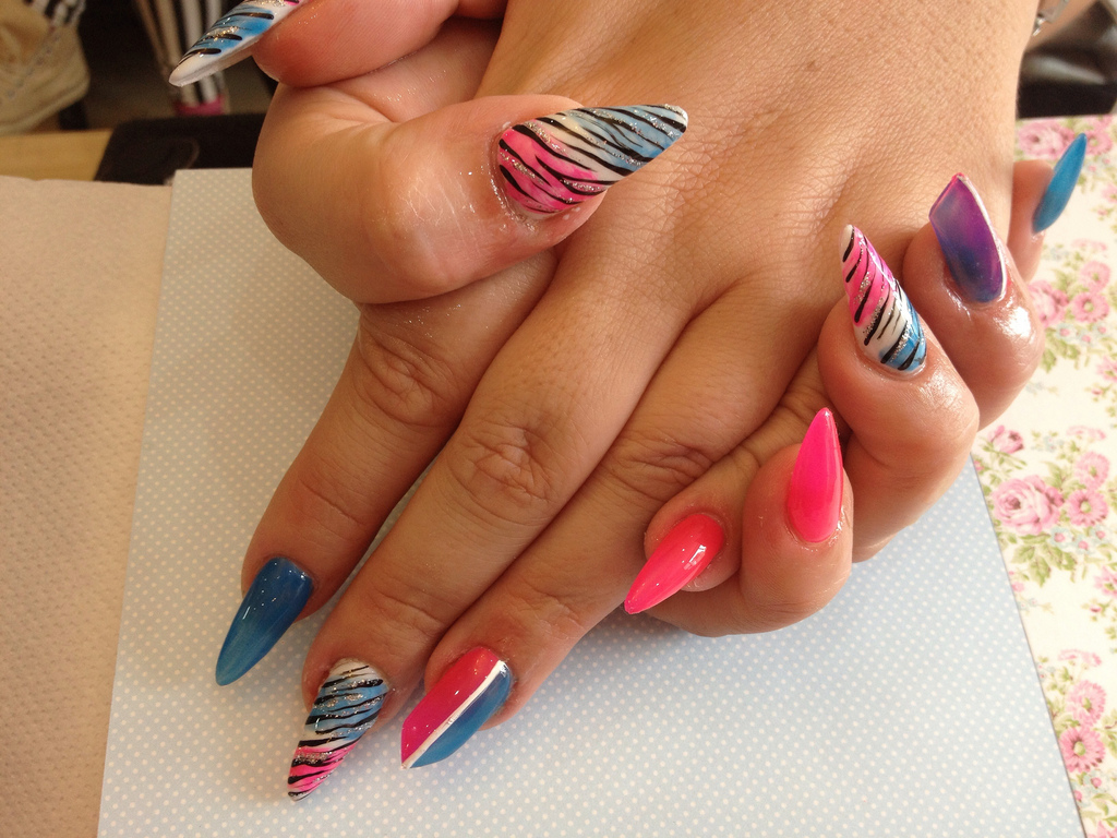 Stiletto Nails With Pink And Blue Nail Art Nail Designs For You