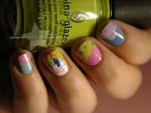 Candles and Cakes Birthday Nail Art Designs