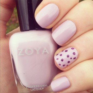 Polish in Heather with accent polka dot nail art in Zoya Aurora