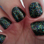 Black and Multi Glitter Nails