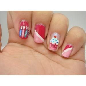 Candles and Cupcake Birthday Nail Designs