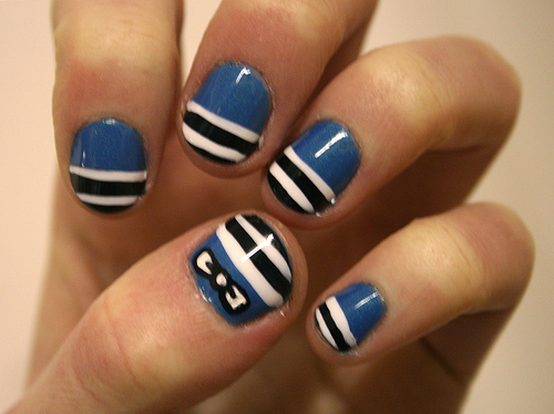 Easy Nail Designs Bows Blue Black And White Stripe
