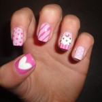 Cupcake and Heart Cute Nail Design