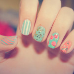 Flowers, Glitter and Stripes Cute Nail Designs