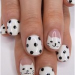Kitty Cat and Dots Cute Nail Design