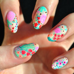 Pink Flowers Spring Nail Designs