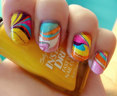 Abstract Summer Colours Summer Nails Designs